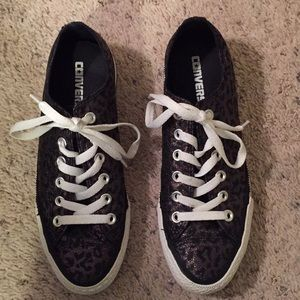 Converse shimmer leopard sneakers size 7.5